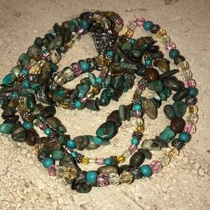 Jewelry - Turquoise and beads 4 strand necklace